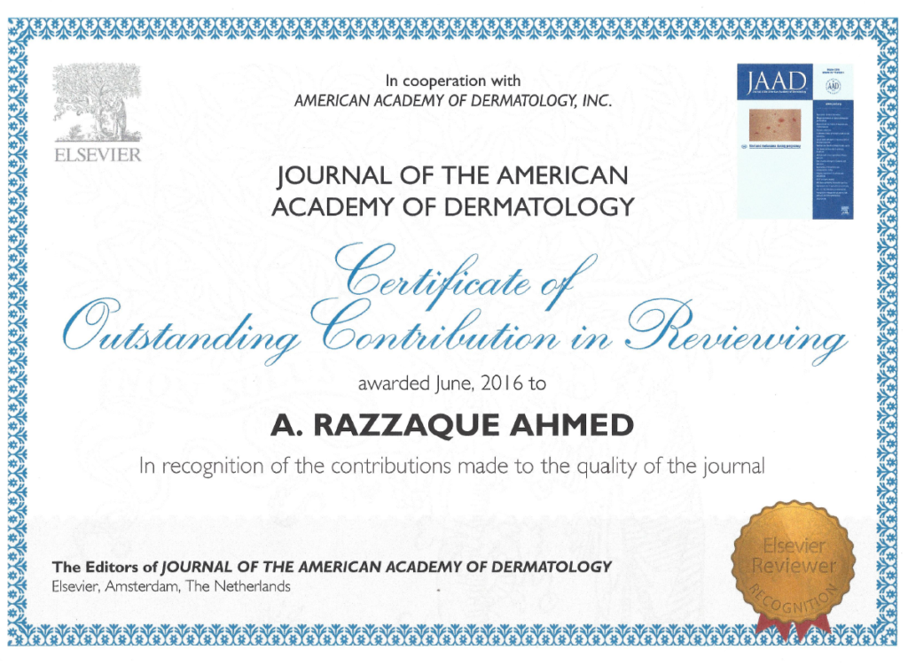 """Certificate of Outstanding Contribution in Reviewing"" Journal of the American Academy of Dermatology 2016"
