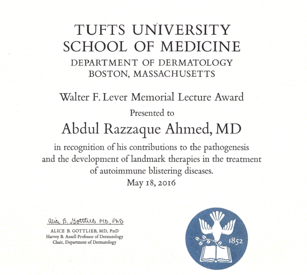 """Walter F. Lever Memorial Lecture Award"" presented by Tufts University School of Medicine, Department of Dermatology"