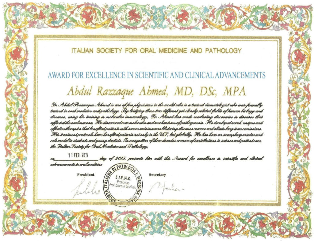 """Award for Excellence in Scientific and Clinical Advancements"" presented by the Italian Society for Oral Medicine and Pathology"