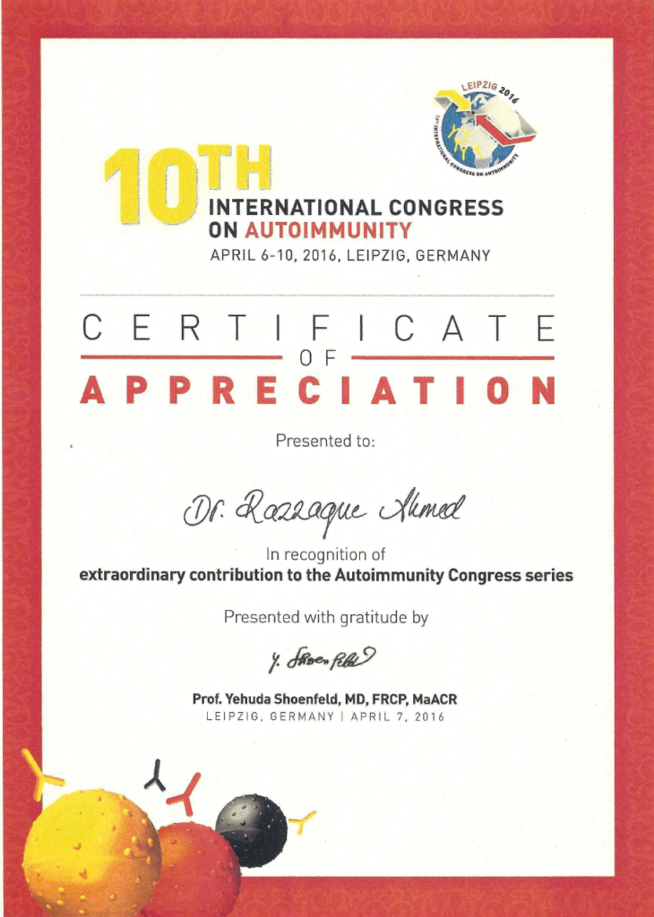 """Certificate of Appreciation in Recognition of Extraordinary Contributions"" presented by Profesor Yehuda Schoenfeld, President of International Congress on Autoimmunity"